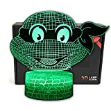 Ninja Turtles Cartoon Night Light, 3D Optical Illusion LED Nightlight Bedside Lamp 7 Colors Changing Touch & Remote Control Toys Birthday Gifts for Kids Children