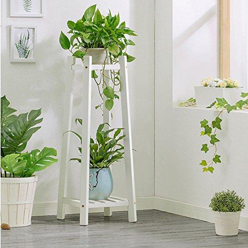Support en bois de fleur pour le balcon de salon d'intérieur, support à fleur de plancher de bois de pin de 2 étages (Couleur : Blanc, taille : 90cm)
