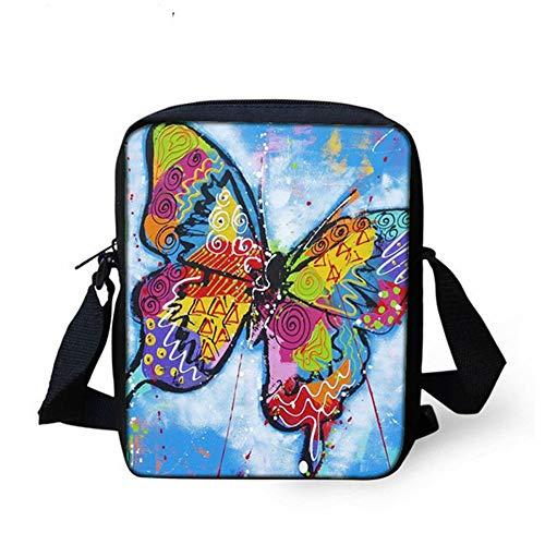 NUANDI 3D-Druck Schmetterling Schüler Handtasche Kinder Umhängetasche Schultertasche Rucksack Kinder Kleine Tasche Jugend Tasche