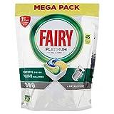 Fairy Platinum - Detergente para cápsulas todo en uno, para lavavajillas, 43 pastillas, limón, elimina incluso la grasa incrustada