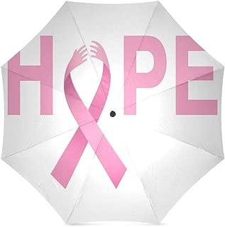 Breast Cancer Awareness Pink Ribbon Anti Rain Windproof Travel Golf Sports Foldable Umbrella