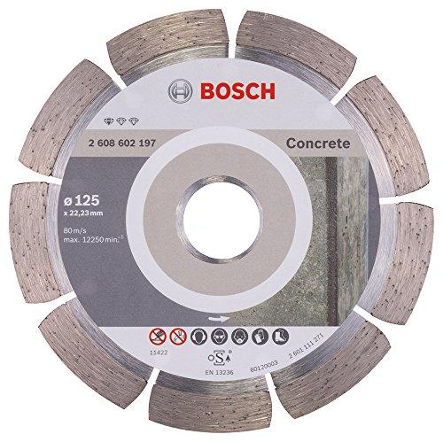 Bosch Professional Diamanttrennscheibe Standard für Concrete, 125 x 22,23 x 1,6 x 10 mm, 1-er Pack, 2608602197