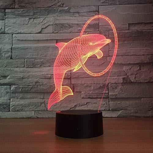 jiushixw 3D acryl nachtlampje met afstandsbediening van kleur veranderende tafellamp Dolphin Next Birthday moeder geschenk Yellow Drum Watch Miss