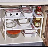 Under Sink Organizers And Storage, Expendable Bathroom Kitchen Sink Cabinet Cupboard Shelf Rack for Kitchen Bathroom White (2-Tier)