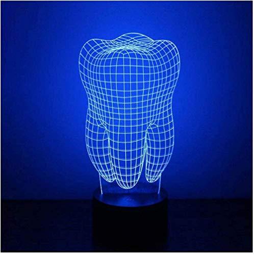 Colorido 3D Luz de Noche Dientes Luz de la Noche Cuidado de los Ojos LED Luz de la Mesita de Noche Lámpara de la Decoración del Hogar