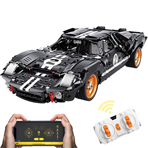 CT-Tribe Bloques de construcción de coche para Ford GT40 1966 2,4 GHz 1:10, bloques de construcción con mando a distancia/APP, 2404 bloques de construcción compatibles con Lego