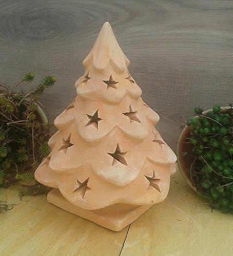 Weihnachtsbaum 30 cm, beleuchtbar aus Terracotta Deko Garten Weihnachten Stern Motiv Windlicht Advent