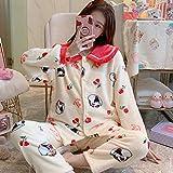 Wenhua Pajamas for Girls, Pijama cálido Grueso para Mujer en otoño e Invierno, 2092_XL, Pijamas Mujer Verano Largo del Pijamas Pantalones