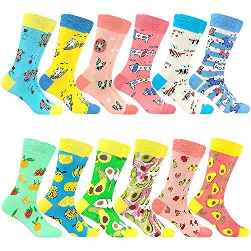Bunte Baumwolle Socken Lustigem Fantastisch Muster Glücklich Sock Crew (12Pairs 1208)