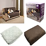 FUNDA CUBIERTA PARA SOFA REVERSIBLE CUBRIR SOFA SILLON COLOR MARRON Y BEIGE PROTECTOR SOFA 2 PLAZAS, 280 CM