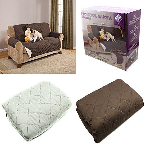 GSSL Funda Cubierta para Sofa Reversible Cubrir Sofa Sillon Color Marron Y Beige Protector Sofa 2 PLAZAS, 280 CM