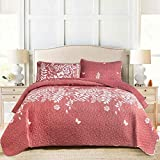 NANKO Quilt Sets Queen Size 3 PCs , Bedspreads Coverlet, Quilts Clearance Bedding Set , Coral Floral Red Flower Printed Pattern - Lightweight Soft Microfiber Modern Farmhouse Style for Men Women Boho