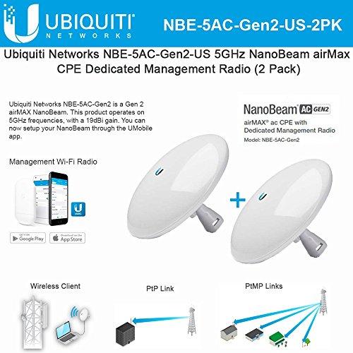 NanoBeam AC Gen2 2-UNITS 5GHz CPE NBE-5AC-Gen2 airMAX ac Bridge High-Performance with Dedicated Management Radio