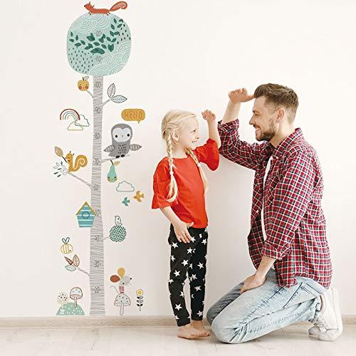 BLOUR Niedlicher Waldbaum Höhe messen Wandaufkleber für Kinderzimmer Kinderzimmer Kinderwachstumstabelle Wandtattoo Baby Geschenk Tierzimmer Dekor