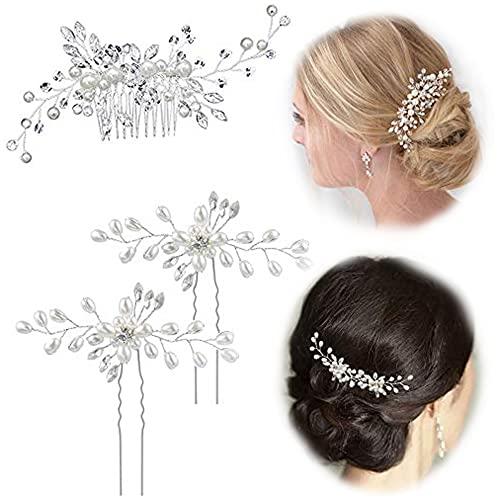 3 Stück Braut Haarschmuck Haarspangen Haarnadel Blume mit Kristallen Perlen Haarschmuck für Braut Brautjungfer auf Hochzeit Abendparty oder andere besondere Anlässe