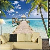 Xbwy 装飾壁画壁紙大壁画夏ビーチ風景パームシーガルホールベッドルームリビングルームソファテレビ背景壁紙-120X100Cm