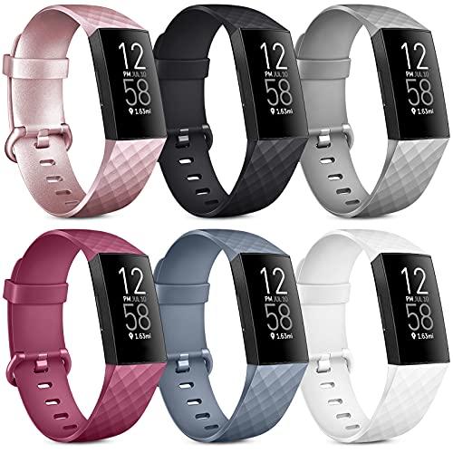 Oumida 6 Pack Kompatibel für Fitbit Charge 3 Armband/Fitbit Charge 4 Armband, Klassisch Sport Verstellbares Ersatzarmband für Fitbit Charge 4 / Fitbit Charge 3 (C, L)