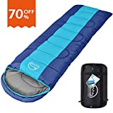 Sleeping Bag,LATTCURE Comfort Portable Lightweight Envelope Sleeping Bag with Compression Sack for Camping,Hiking,Backpacking,Traveling and Other Outdoor Activities -Single,Sky Blue+Blue,(75'+12')x33'
