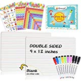 Dry Erase Board, 2 Pack Small Dry Erase White Boards 9'X12' with 10 Pcs Dry Erase Markers & 4 Pcs Numbers Alphabet Posters, Double Sided Dry Erase Lap Board with Lines/White Board for Kids