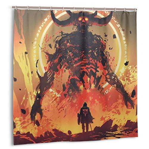 MAYUES Duschvorhang, Ritter mit einem Schwert vor dem Lavadämon in der Hölle, digitaler Kunststil, Illustration Badvorhang Set mit Haken