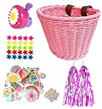 Suerico Girls Bike Decorations Accessories Kit,Kids Bike Basket Hand Woven Bicycle Basket,Child Bike Wheel Spoke Beads,Bike Streamers Tassel Ribbon, Bike Horn Bell and Stickers (Pink)