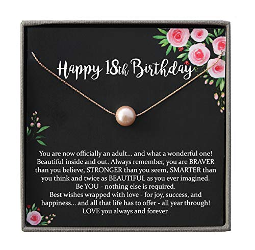 18th Birthday Gifts for Girls, 14K Rose Gold Filled Blush Pearl Necklace with Meaningful Message, 14K Rose Gold Filled