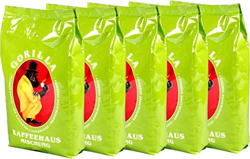 Joerges Gorilla Kaffeehaus-Mischung, 5er Vorteilspack (5x 1000g), ganze Kaffeebohnen, Röstkaffee, Caffè
