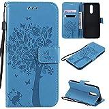Nancen Compatible with Handyhülle LG K40 / K12 Plus Hülle, Flip-Hülle Handytasche - Standfunktion Brieftasche & Kartenfächern - Baum & Katze - Blue