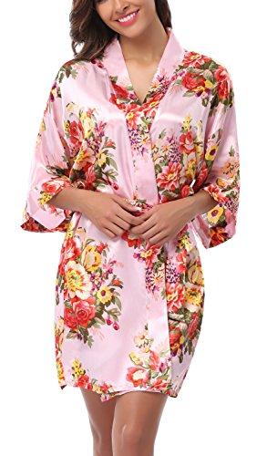 WitBuy Dames Korte Zijde Bloemen Kimono badjas Bruidsmeisje Jurk Jurk voor Bruidsfeest