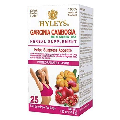 HYLEYS Tea 12 Pack of Wellness Garcinia Cambogia Green Tea Pomegranate - 25 Bags (100% Natural, Sugar Free, Gluten Free and Non GMO), 300 Count