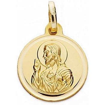 Medalla oro 18k escapulario 14mm Virgen Carmen Coraz/ón Jes/ús AA2481