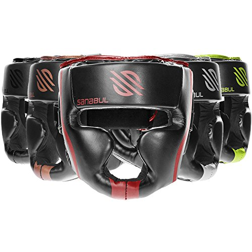 Sanabul Essential MMA Boxing Kickboxing Head Gear (Red, S/M)