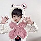 Bufanda para niños 2 en 1 Set grueso invierno cálido de dibujos animados felpa con capucha guantes de bolsillo, sombrero con orejera, bufanda larga, chal (tamaño: 1-5 años, color: rosa profundo)