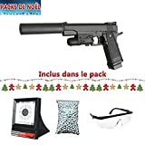 Galaxy Pack Airsoft G6A Tipo Colt M1911 con láser silencioso Full Metal Spring/Spring / Rechargeing Manual Bisel, Cuentas y Objetivos Thread Gifts (0.5 Joule)