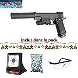 Galaxy Pack Airsoft G6A Tipo Colt M1911 con láser silencioso Full Metal...