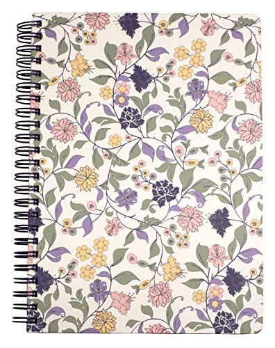 Women#039s Teen Girls Cute Purple Floral Mini Spiral Notebook with Durable Hardcover and 160 Lined Pages Purple Vine Ditsy