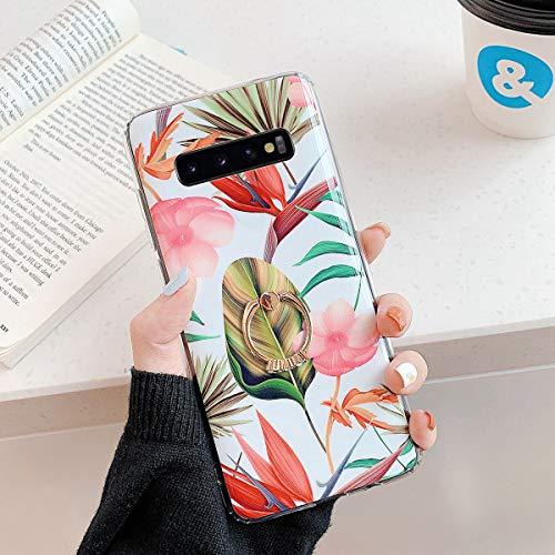 Herbests Kompatibel mit Samsung Galaxy S10 Hülle Silikon Handyhülle Mode Blätter Blumen Muster Ultra Dünn TPU Silikon Handytasche Crystal Case Schutzhülle mit Ring Ständer Halter,Rosa Blumen
