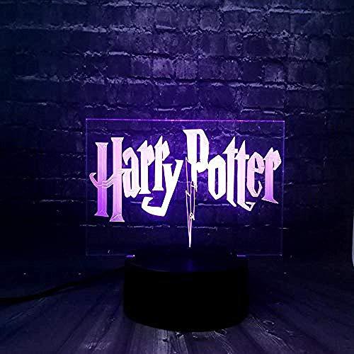 Ilusiones 3D Luz de noche LED 3D para niños Harry Potter Dormitorio Luz de sueño 7 Cambio de color Control remoto Niño Niños Juguetes Regalo decorativo para el hogar