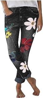 AOGOTO Jeans da donna con stampa floreale al polpaccio elasticizzato da indossare e da indossare in jeans