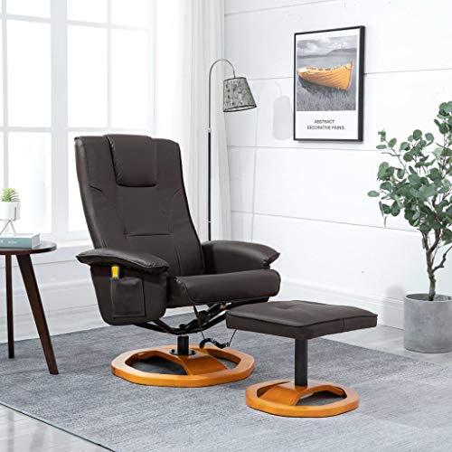 Festnight Elektrischer Massagesessel mit Fußhocker Relaxsessel Fernsehsessel Liegefunktion mit Fernbedienung Braun Kunstleder
