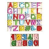 Wooden Letters And Numbers, 200PCS Lettere in Legno e Numeri in Legno, Lettere Maiuscole in Legno Numeri in Legno,per Insegnamenti di Bambini o Decorazioni Creative di Casa