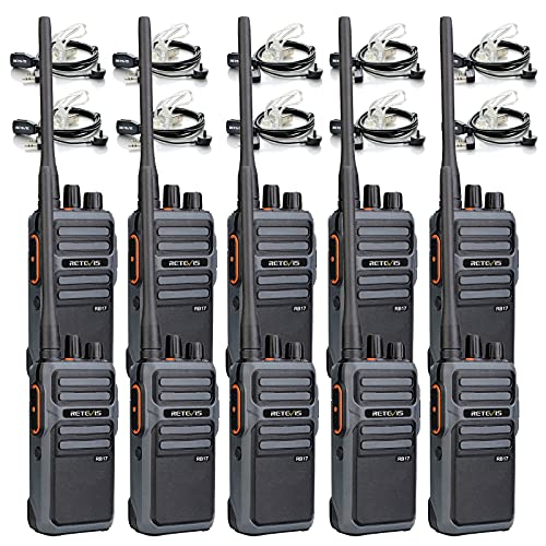 Retevis RB17 Walkie Talkie Long Range for Adults,Handheld Two Way Radio with Earpieces,Rechargeable 4400mAh Large Capacity Battery,Rugged 2 Way Radios for School Warehouse Business Duty (10 Pack)