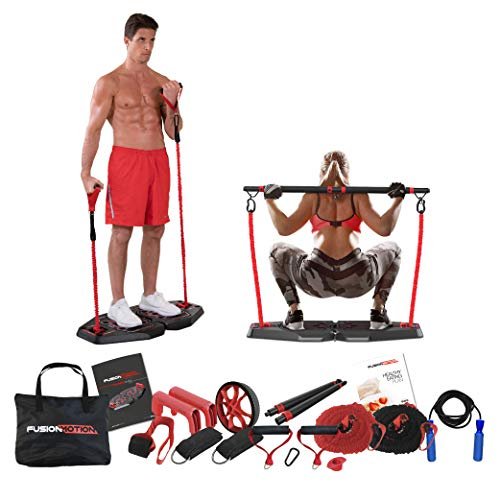 Fusion Motion Plus Portable Home Gym with 9 Accessories Including Heavy & Light Resistance Bands, Jumping Rope, Tricep Bar and More - Full Body Workout Exercise Equipment to Build Muscle and Burn Fat