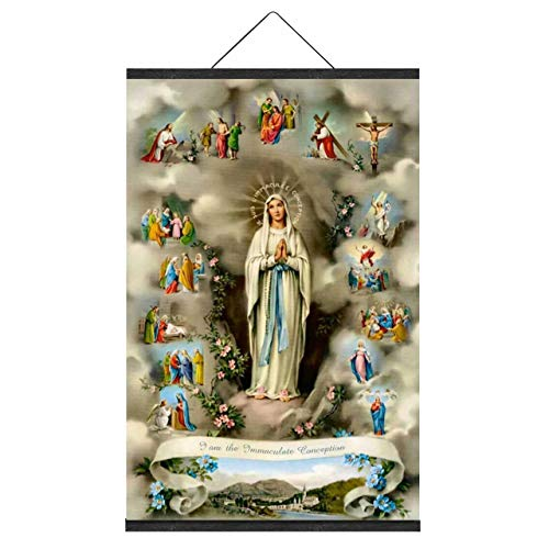 NO MARK Virgin Mary Image Blessed Mother Picture Religious Wall Art Religious Figures Catholic Religious Gifts Wall Art Canvas Prints with Magnetic Poster Frame Hanger (18 x 27 Inch)