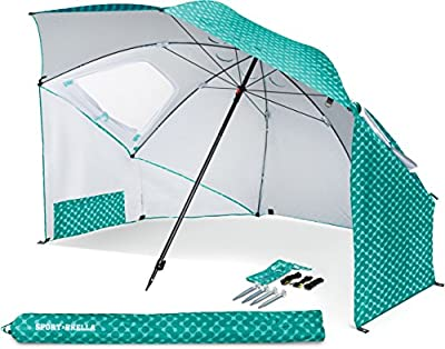 Sport-Brella Vented SPF 50+ Sun and Rain Canopy Umbrella for Beach and Sports Events (8-Foot, Turquoise)