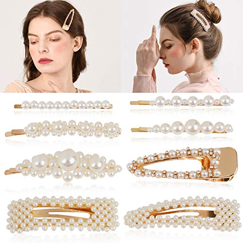 Aniwon 8PCS Pearl Hair Clip Fashion Barrette Bobby Pin Artificial Alligator Hair Accessories for Women Lady Girls … (gold)