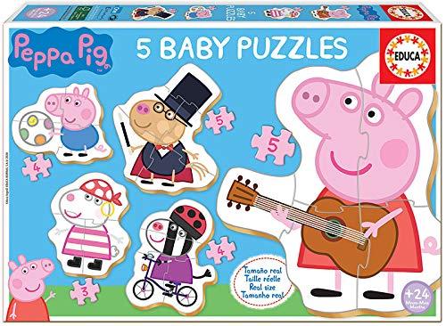 Educa - Baby Puzzles, puzzle infantil Baby Peppa Pig 2, 5 puzzles progresivos de 3 a 5 piezas, a...