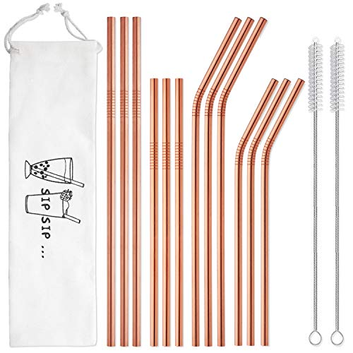 Hiware 12-Pack Rose Gold Metal Straws Reusable with Case - Stainless Steel Drinking Straws for 30oz and 20oz Tumblers Yeti Dishwasher Safe, 2 Brushes Included