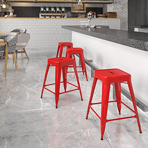 24 Inch Red Galvanized Steel Backless Stool
