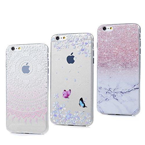 3x Cover iPhone 6S, iPhone 6 Custodia Silicone Ultra Sottile Antiscivolo Antiurto Slim Bumper Case per iPhone 6/6S - Marmo + Totem Rosa + Farfalla